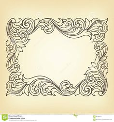 Retro Embroidery Patterns vintage baroque border frame engraving with retro ornament pattern in antique rococo style decorative design - stock photo - Leather Tooling Patterns, Leather Pattern, Leather Carving, Vintage Embroidery, Embroidery Patterns, Ornament Pattern, Vintage Borders, Carving Designs, Pyrography Designs
