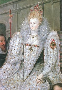 """A detail of Elizabeth I from """"Queen Elizabeth Going in Procession to Blackfriars"""", which is attributed to both Marcus Gheeraerts the elder and Robert Peake. Read about the Queen's visit to the wedding here: http://www.beingbess.blogspot.com/2012/06/on-this-day-in-elizabethan-historyjune.html"""