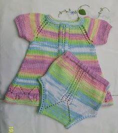 VESTIDO DE HILO DE COLORES TALLA 3 MESES            Material     Hilo de mezclilla de colores para tejer con agujas del nº 3 - 3,5   Agujas... Knitting For Kids, Baby Knitting, Knit Baby Dress, Chevron, Knitting Patterns, Knit Crochet, Kids Outfits, Tie Dye, Children