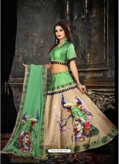 Beige Taffeta Digital Work Lehenga Choli Choli Blouse Design, Choli Designs, Fancy Blouse Designs, Designs For Dresses, Kurta Designs, Indian Designer Outfits, Indian Outfits, Choli Dress, Lehenga Choli