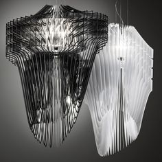 Aria and Avia pendant lamps by Zaha Hadid for Slamp at Euroluce in Milan 2013.