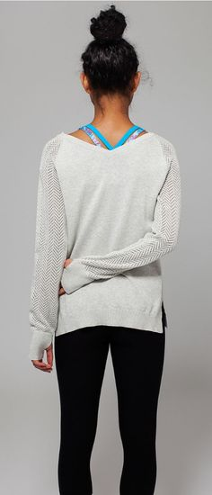 pull on this soft, Cotton knit sweater after practice. | Warm And Cool Pullover love the thumb holes