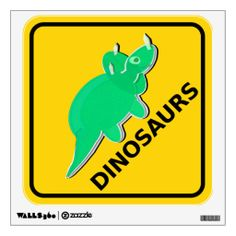 Beware of Dinosaurs Sign Cute Cartoon Triceratops Wall Decal #dinosaur #walldecal #kidsdecor