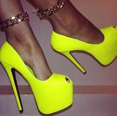 8339500754b Neon peep toe heels Tacos Altos