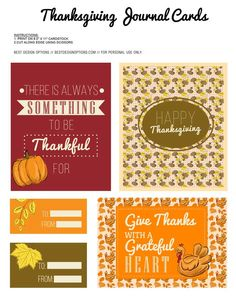 Free Thanksgiving Journal Cards