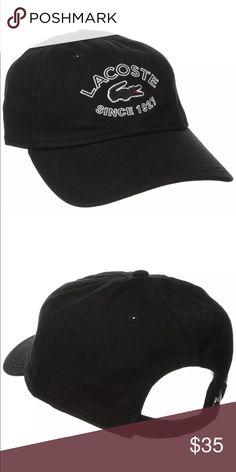 New Lacoste Unisex Black Hat Cap New Lacoste Unisex Hat Color: Black Size: Adjustable Lacoste Accessories Hats
