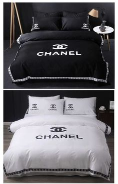 Chanel-Bettwäsche-Set, verkauft von Trendydecor auf Storenvy - New Home Decor Chanel Bedding, Chanel Bedroom, Luxury Bedding, Grey Bedding, Dream Rooms, Dream Bedroom, Sofa Design, Bedroom Bed, Bedroom Decor