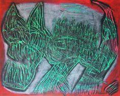 """""""Ombra felina"""" 2014 Tecnica mista su cartoncino 38x48 ©Pietro Gargano"""