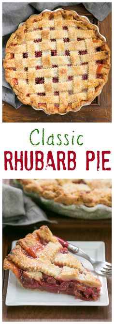 Classic Rhubarb Pie with a Lattice Crust I grew up with a big rhubarb patch in our backyard. On occasion, my mom would surprise us with this Classic Rhubarb Pie. Double crust, no custard, just plain delicious! Rhubarb Desserts, Rhubarb Recipes, Pie Recipes, Just Desserts, Baking Recipes, Delicious Desserts, Dessert Recipes, Yummy Food, Sweet Pie