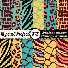Digital Paper: Wild Animal Print  Scrapbooking & by Mycuteproject