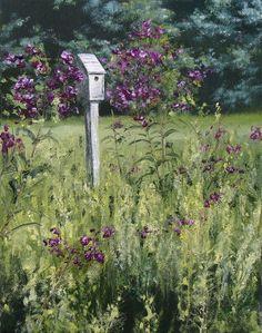 """Jill Poyerd Watercolors - Oil Paintings """"pasture bird house"""""""