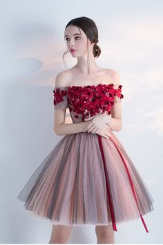 Off-the-shoulder Cocktail Dresses,Homecoming Dress With Red Appliques,Sexy Graduation Dress,Short Prom Dress,A-line Mini Dress With from Happybridal - Prom Dresses Design A Line Prom Dresses, Flower Dresses, Homecoming Dresses, Pretty Dresses, Beautiful Dresses, Evening Dresses, Short Dresses, Elegant Dresses, Sexy Dresses