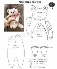 Plushie Patterns, Doll Sewing Patterns, Sewing Toys, Sewing Crafts, Sewing Projects, Doll Crafts, Diy Doll, Cute Crafts, Stuffed Animal Cat