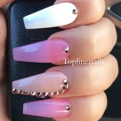 Ballerina Nails. Sheer Pink Nails. Nails With Rhinestones. Pink and White Nails. Acrylic Nails. #pinkandwhitenails