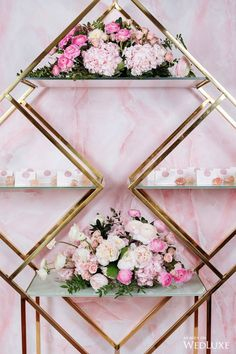This gold stand is gorgeous! Wedding Ceremony Arch, Wedding Stage, Wedding Seating, Indian Wedding Decorations, Flower Backdrop, Pink Marble, Backdrops For Parties, Wedding Desserts, Event Styling