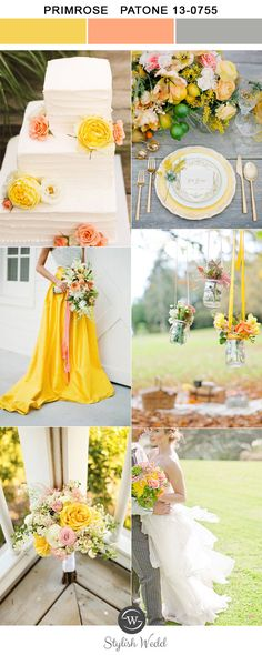 bright primrose yellow and peach boho wedding inspiration for 2017 trends