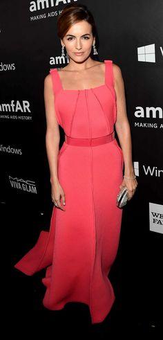 Camilla Belle in pink Carolina Herrera gown | amfAR Inspiration Los Angeles 2014
