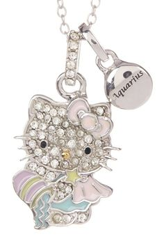 77b062b98 Hello Kitty | Hello Kitty Zodiac Sterling Silver Pave Crystal Enamel Full  Aquarius Pendant Necklace | Nordstrom Rack