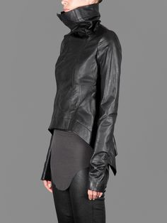 RICK OWENS NASKA BIKER JACKET WITH TWO OPEN POCKETS AND TALE DETAILS ON THE…
