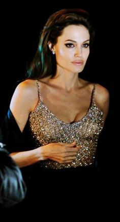 Angelina Jolie in her Atelier Versace Swarovski dress, so beautiful x