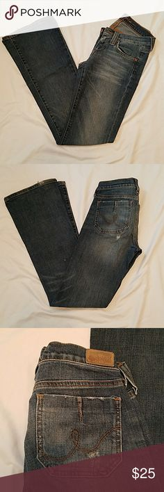 "Hippie Bootcut Jeans Gorgeous bootcut jeans from Hippie. Little bits of destroyed patches here and there, in perfect condition with lots of life and love to give to its new lucky owner! Inseam is 32.5"" and the opening is 9.5"". Comes from a smoke and pet free home! Hippie Jeans Boot Cut"