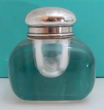 ANTIQUE TIFFANY & CO MAKERS GLASS STERLING SILVER INKWELL INKPOT
