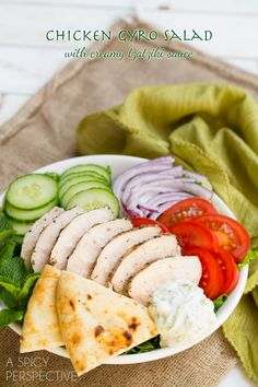 Chicken Gyro Salad (or Wraps) with Creamy Tzatziki Sauce! #gyro #salad #tzatzikisauce