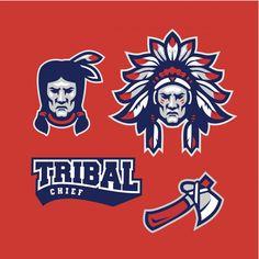 Indian tribal logo mascot set   Premium Vector #Freepik #vector #logo #retro #team #indian Mascot Design, Logo Design, Chiefs Mascot, Indiana, Tribal Logo, Tribal Chief, Nativity, Native American, Retro