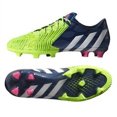 The Adidas Supernatural Pack delivers stunning colors to make sure you are never missed on the field. Get your Adidas Predator Instinct FG Soccer Cleats (Rich Blue/White/Solar Green) today at www.SoccerCorner.com!