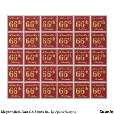 Elegant Red Faux Gold Birthday Custom Name Wrapping Paper - script gifts template templates diy customize personalize special Wrapping Paper Crafts, Wrapping Paper Design, Custom Wrapping Paper, 85th Birthday, Birthday Gifts, Birthday Diy, Birthday Greeting Cards, Wraps, Gold Gifts