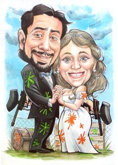 Caricatura a acuarelas y tintas / Andrés y Natalia
