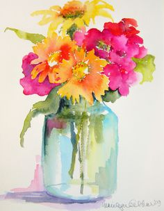 Pink, orange, yellow flowers in mason jar vase - watercolor by Marilyn Lebhar