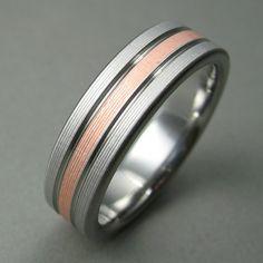 Men's Wedding Ring Titanium Copper Classic by spexton on Etsy, $229.00