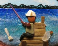 pebble art pebbleart painted rock stone ocean beach fishing fish dock sea glass shell boy kid girl