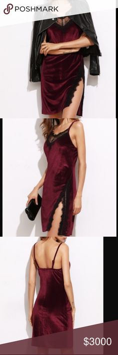 Just in• $25 Christmas Special• Velvet Laced Dress Stun your lover with this Sexy velvet Laced dress! Also great for a night out with your favorite people! Features a Lace trimmings and an adjustable strap. Material : polyester blend. •• use offer feature. $25 until Sunday!! Dresses