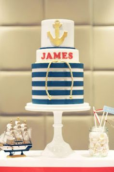 Nautical Cake~                                           By Couture Cupcakes & Cookies: Nautical Christening Cake, 3 tier, Round, Blue, White, anchor, stripe