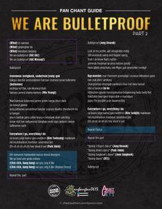 Fan chant guide: We are Bulletproof Jimin, Bts Bangtan Boy, Bts Song Lyrics, Bts Lyrics Quotes, Skool Luv Affair, 21st Century Girl, Jung Hoseok, K Pop, I Need U Bts