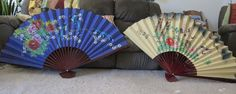 Beautiful Asian Oriental Chinese wall fans hanging~hand painted~signed set