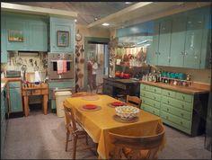 Julia Child kitchen green blue kitchen cabinets retro modern kitchen