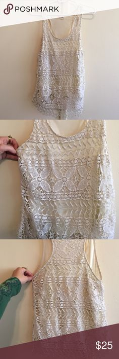Anthropologie Lace Cream Top Beautiful anthro lace cream top. Perfect for work or to go out. Slight wear and nearly invisible discolorations. Anthropologie Tops