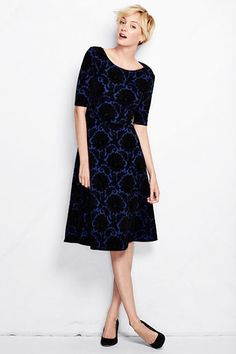 Women's Ponté Boatneck Flock Dress from Lands' End This just screams Christmas dress. Dressy Dresses, Modest Dresses, Dresses For Work, Dresses With Sleeves, Elegant Dresses, Holiday Dresses, Holiday Outfits, Holiday Clothes, Lands End Women