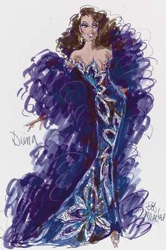 2001 A costume design by Bob Mackie for Diana Ross for an appearance at the 20th Annual CFDA American Fashion Awards, June 14 2001. Felt pen on paper, signed, the design showing Ross wearing a beaded floral patterned gown with a large feather wrap.17x8in.