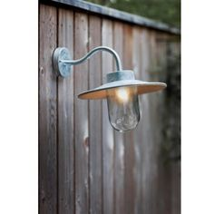 Galvanised Swan Neck Wall Light by Garden Selections, the perfect gift for Explore more unique gifts in our curated marketplace. Shops, Wall Mounted Light, Porch Lighting, St Ives, Galvanized Steel, Glass Shades, The Selection, Wall Lights, Modern