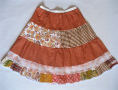 $86 the Patch Stripe Petticoat - in original vintage cotton prints and laces - in shades of orange and cream, SM
