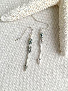 Silver Arrow Earrings - Follow Your Arrow - Beaded Arrow Earrings - Green and Silver Earrings - Simple Arrow Earrings