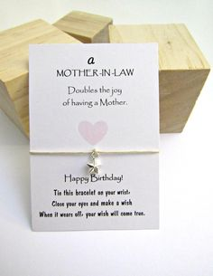 Mother In Law Wish Bracelet Gift For Birthday Friendship Make A