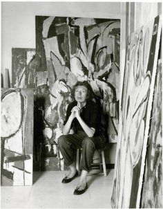 Ladies, looking for more pinspiration? Try channeling Pollock's wife (and fellow artist) Lee Krasner, shown here in her studio two weeks after her husband's death. #PollockBall