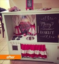 Makeover of an old entertainment center to a play kitchen. so cute