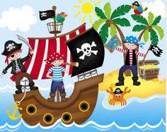 Pirate Clipart Pirates Clip Art Nautical Whale by mintprintables Pirate Boats, Pirate Kids, Art Activities For Kids, Art For Kids, Crafts For Kids, Pirate Theme, Pirate Party, Treasure Chest Craft, Pirate Clip Art