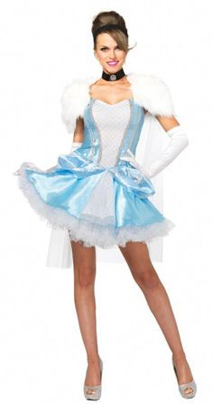 Have an enchanting night with this costume! This Cinderella costume includes the dress, fur caplet, choker, and headband. You're sure to turn heads with this costume, but remember! You only have until midnight. Cinderella Halloween Costume, Costumes Sexy Halloween, Adult Costumes, Costumes For Women, Funny Halloween, Cosplay Costumes, Marine Uniform, Blue And White Fabric, Cinderella Dresses
